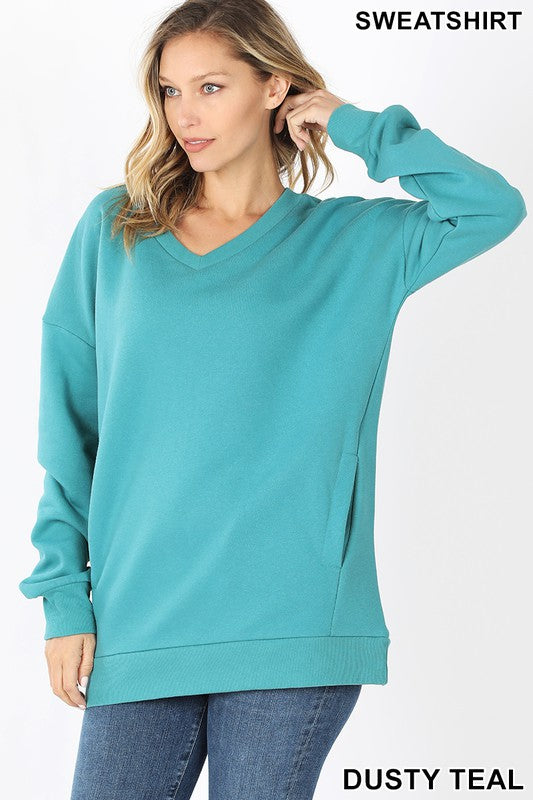 1234 Cozy V Neck Sweatshirt with Side Pockets, Teal