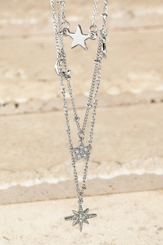 Cubic Zirconia Stars & Moon Statement Charm with Multi-Layered Long Cable Chain Necklacle, Silver
