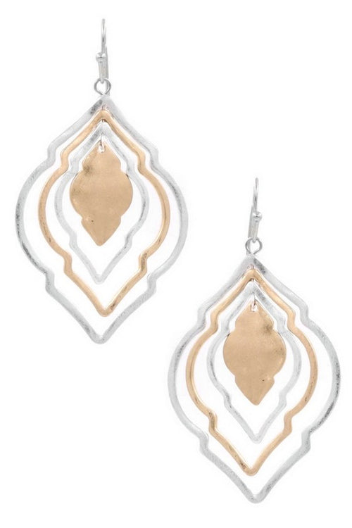 Sweet Spot Two Tone Layered Metal Moroccan Drop Earrings
