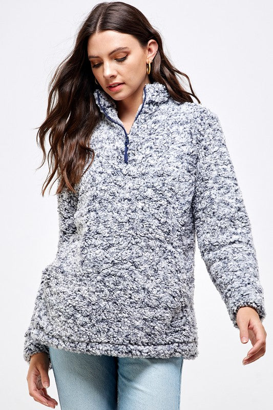 Luxurious Sherpa Pullover with Side Slits, Pockets, Half Zip Details, Navy