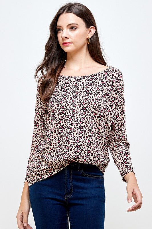 Let's Go Neon Color Animal Print Dolman Sleeve Top with 7/8 Sleeves
