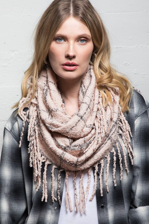 Soft & Casual Plaid Infinity Scarf with Tassels, Pink & Grey