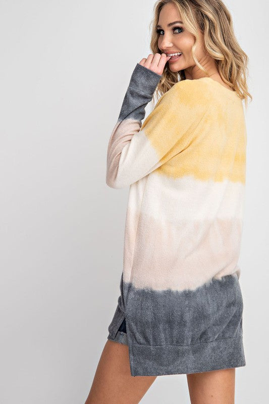 Life is Sweet Tie Dye Brushed Hacci Top with Split Hem