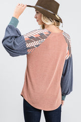 On My Own Color Block Bishop Sleeve Top with Geometric Details on Shoulders