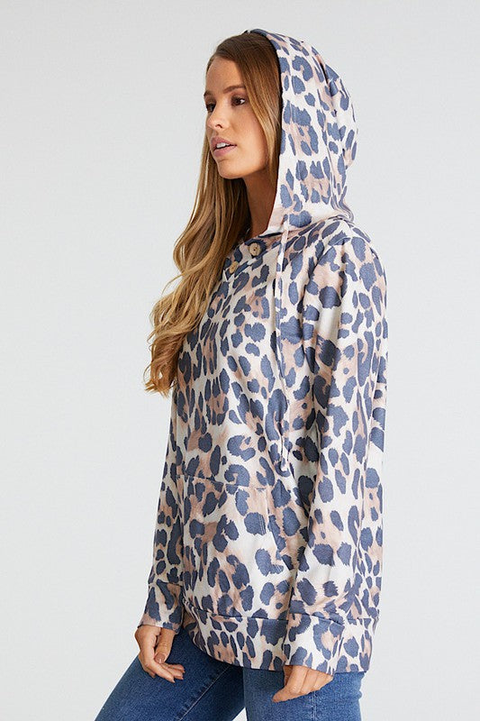 Rolling Stone Print Pocket Hoodie with Kangaroo Pocket & Button Neckline Detail
