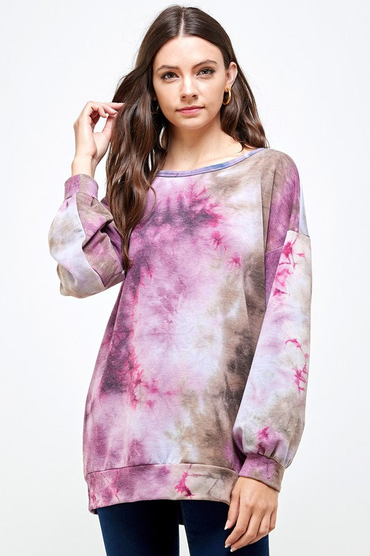 Free Woman Tie-Dye Print Brushed French Terry Round Neck Puff Sleeve Top