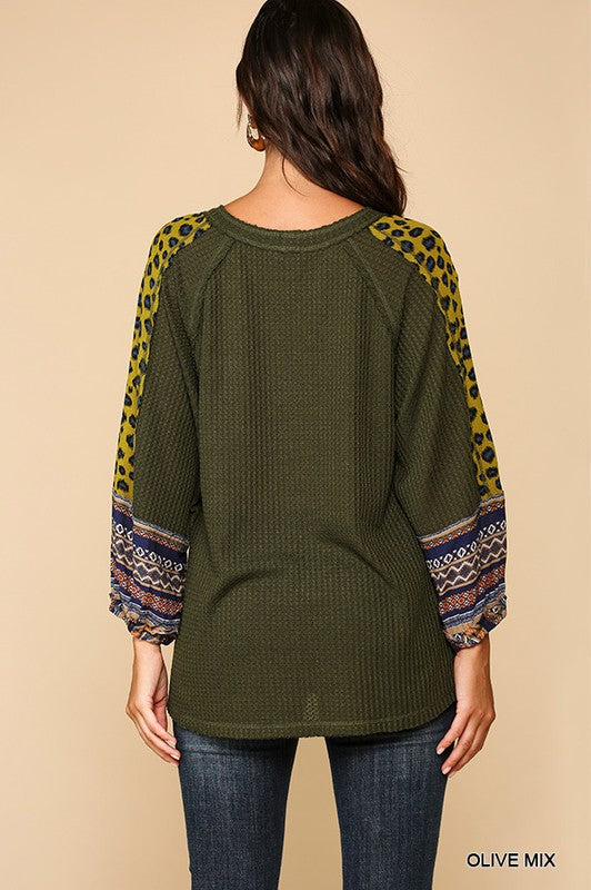 Masterpiece Animal Mixed Print Waffle Knit Top with Raglan 3/4 Sleeves Top, Olive