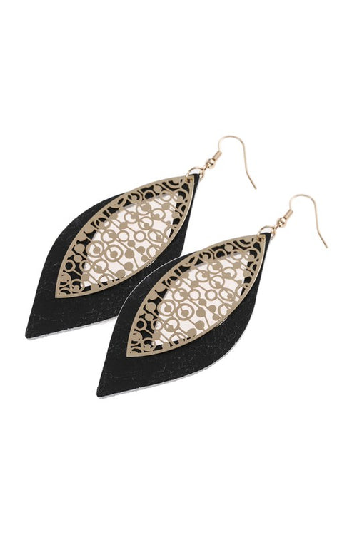 Marquise Leather & Filigree Layer Hook Earrings