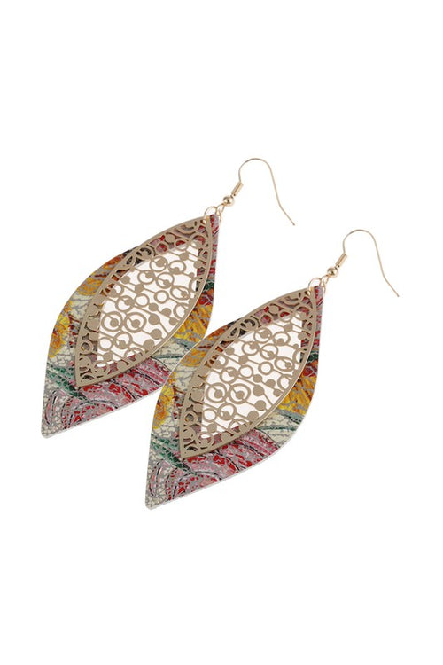 Marquise Leather & Filigree Layer Hook Earrings, Multicolor
