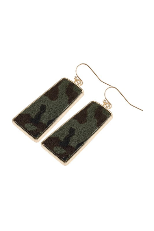 Camo Queen Leather Printed Bar Dangling Fish Hook Earrings