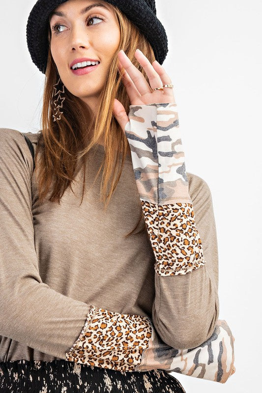 Long Sleeve Camo & Animal Print Cuff Top with Thumbholes