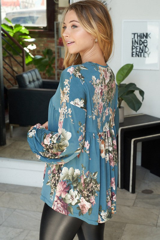 How Sweet It Is Long Sleeve Floral Print Top with V-Neck, Empire Waistline, and Puff Sleeves