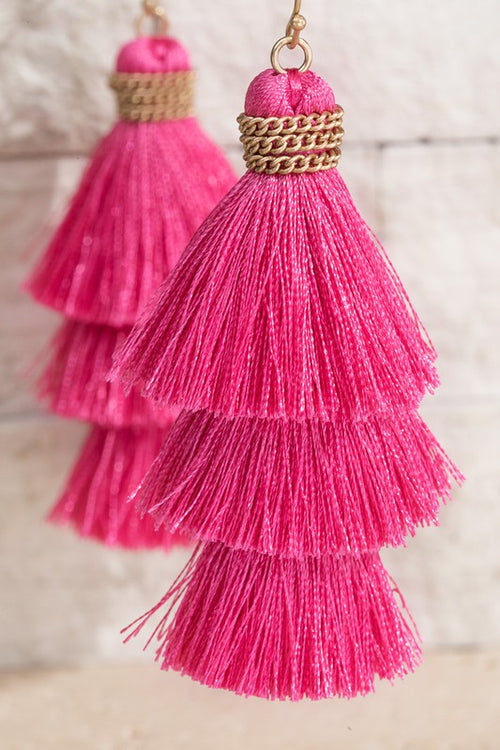 Show Me Triple Tier Fine Thread Dangle Tassel Earrings, PINK