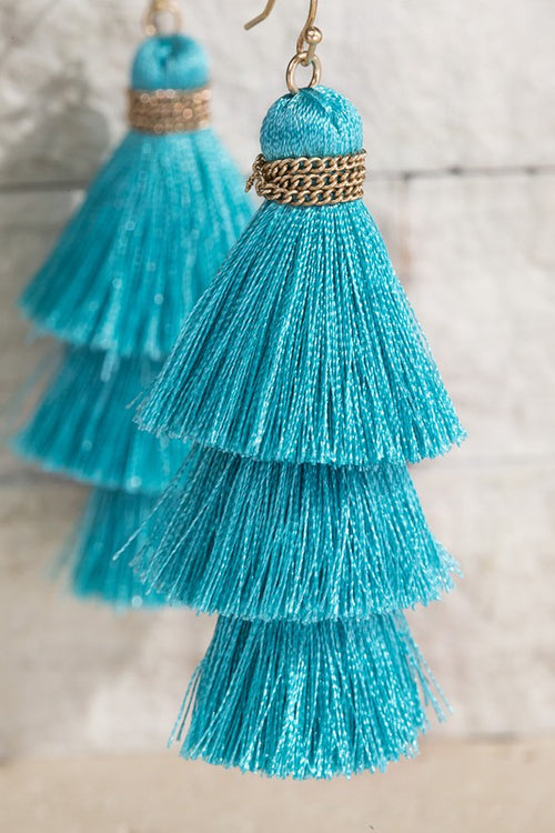 Show Me Triple Tier Fine Thread Dangle Tassel Earrings, Turquoise