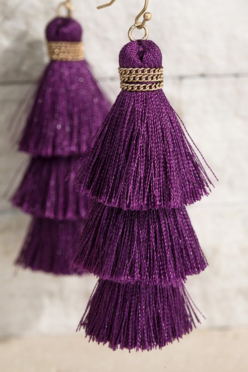 Show Me Triple Tier Fine Thread Dangle Tassel Earrings, PURPLE