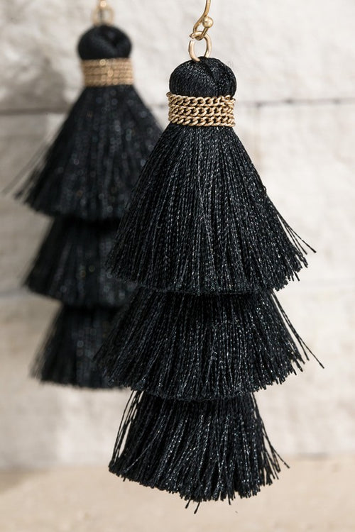 Show Me Triple Tier Fine Thread Dangle Tassel Earrings, Black