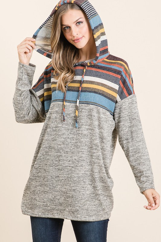Starting Over Striped Color Block  Long Sleeve Hooded Tunic with Multi color stripes