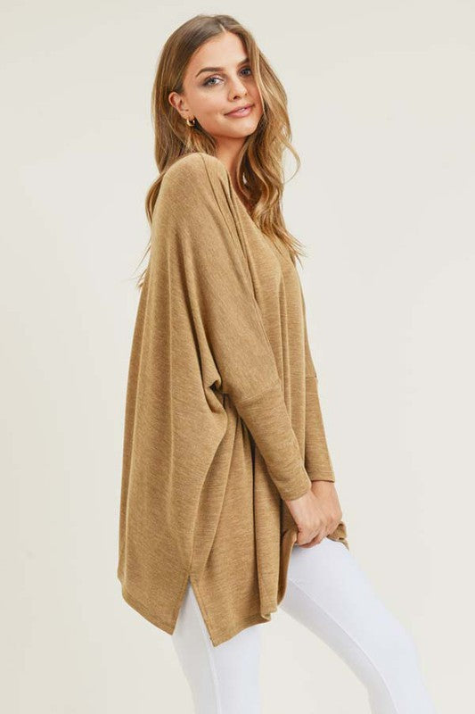 Get-Together Oversized Crew Neck, Split Hem, Dolman Sleeve, Tunic, Camel