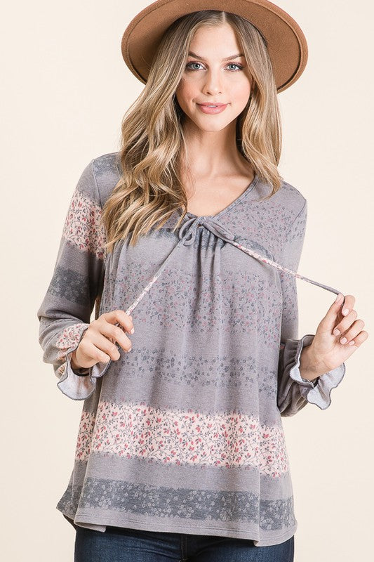 Spirit In The Sky Ditsy Flower Print French Terry Long Sleeve Top with Ruffle Cuffs