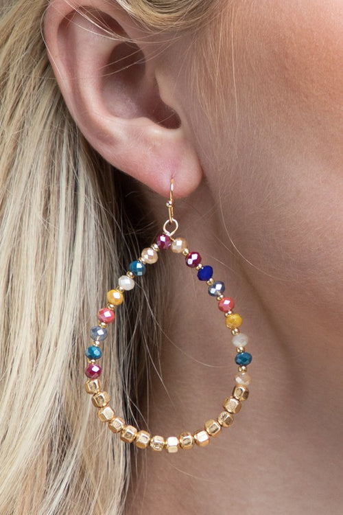 So Much Love Charming Two-Tone Sparkling Glass & Antique Bead Tear Drop Earrings