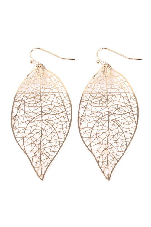 All Alone Leaf Shape Filigree Metal dangle earrings, Gold