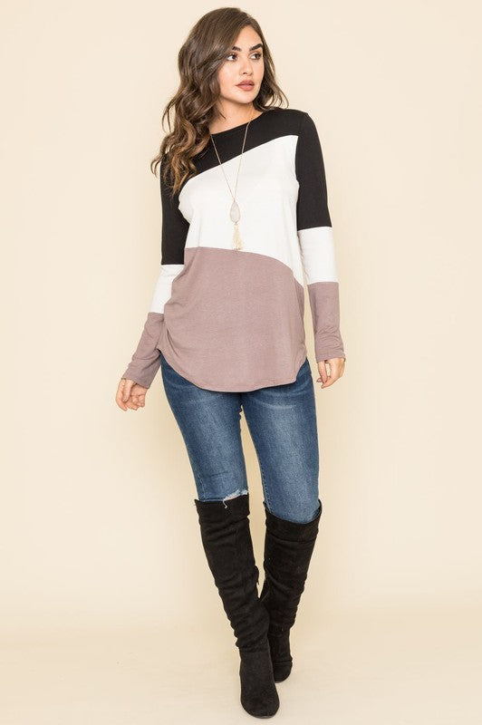 Breeze On By Three Color Block Tunic