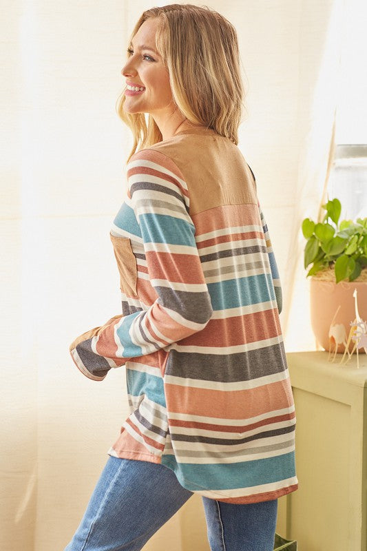 One Heart Multi Stripe V-Neck Knit Top with Suede Contrast Details & thumbhole cuffs