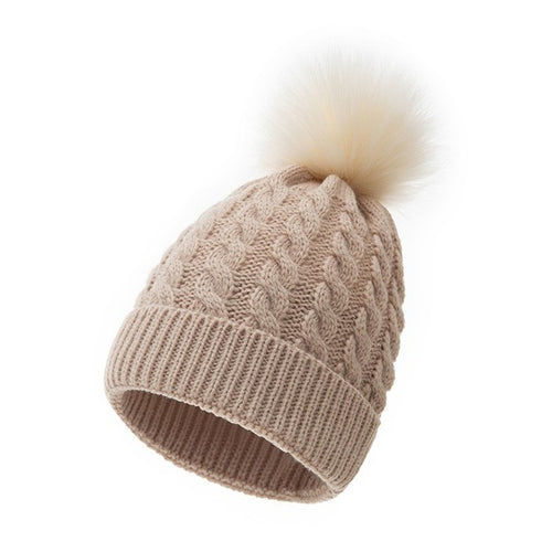 Love On Arrival Ultra Soft Fur Pom Beanie, Tan