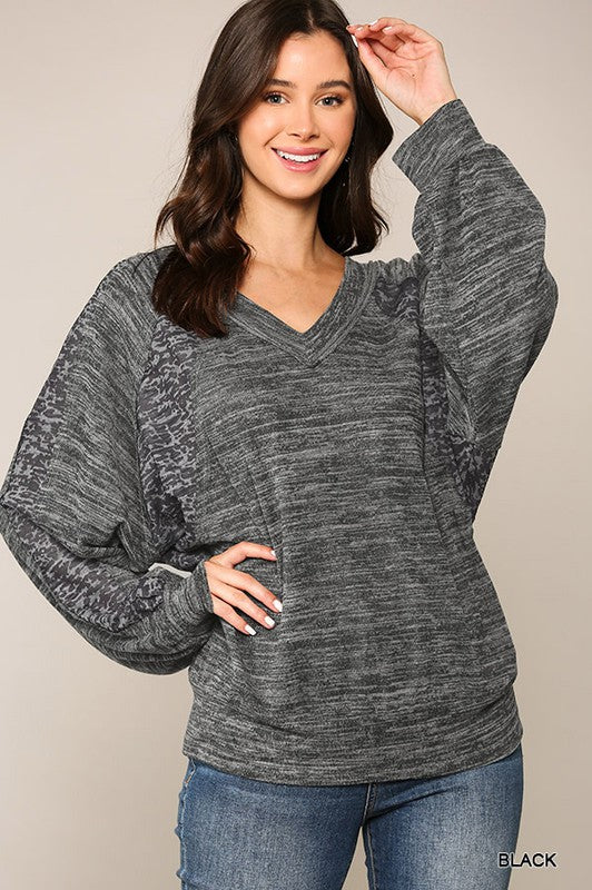 Beautiful U R Burnout Knit & Solid Brushed Hacci Mixed Top with Back Tie & Banded Hem