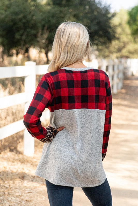 Come & Go Buffalo Plaid Long Sleeve Brushed Hacci Animal Print Color Block