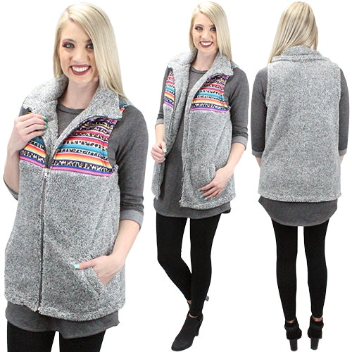 Take A Bow Sherpa Sleeveless Vest with Pockets & Front Zipper, Serape Details on Chest