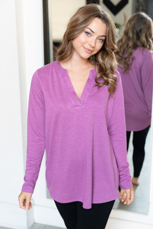 Step It Up Long Sleeve Solid knit top with V Neck