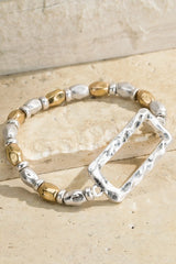 Charming Hammered Metal Rectangle Shape Two-Tone Beaded Stretch Bracelet