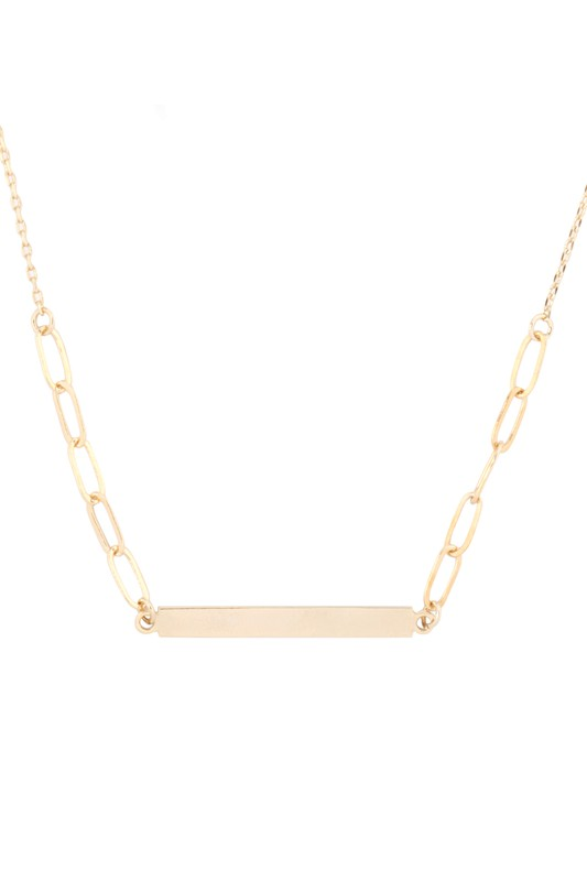 Bring Me Love Bar Link Pendant Chain Necklace