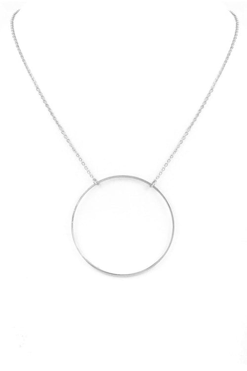 "Circles Metal Ring Pendant Necklace, 18 Inches with 3"" extender, SILVER"