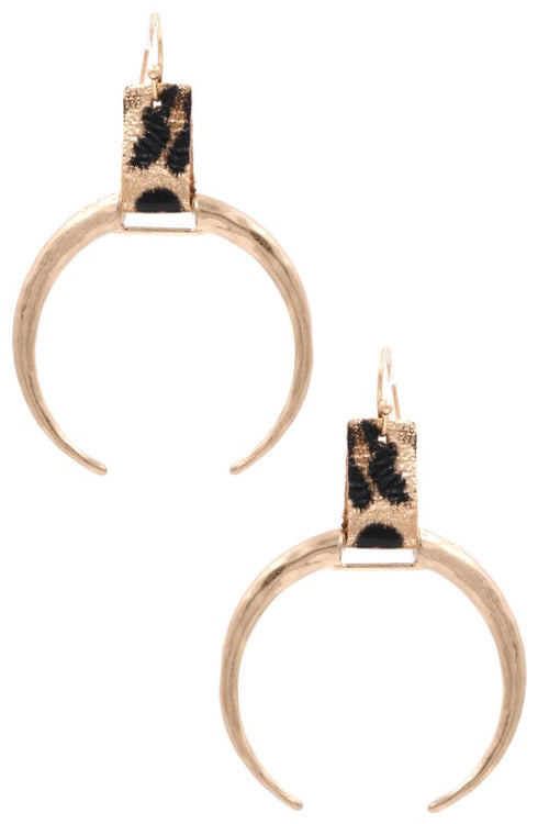 Infatuation Metal Crescent Drop Earrings, Gold