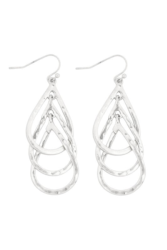 Good To Go Teardropped Layered Fish Hook Earrings, Silver