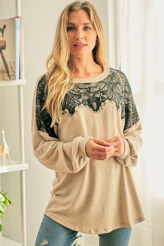 Days Like These Brushed Hacci Sweater with Eyelash Trim Lace Yoke, Oatmeal