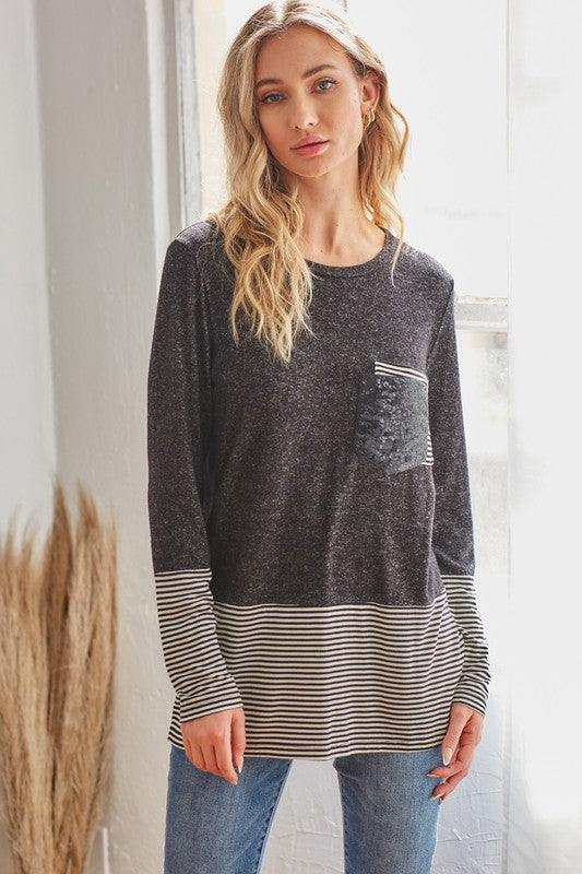 Speechless Color Block Long Sleeve Top with Striped & Glitter details