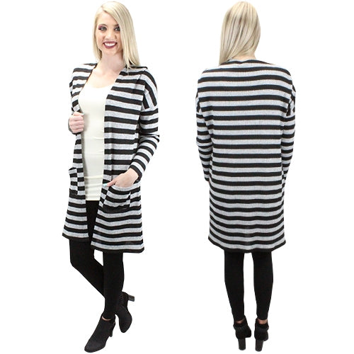 Blame It On the Rain Striped Cardigan with Pockets, Grey & Black