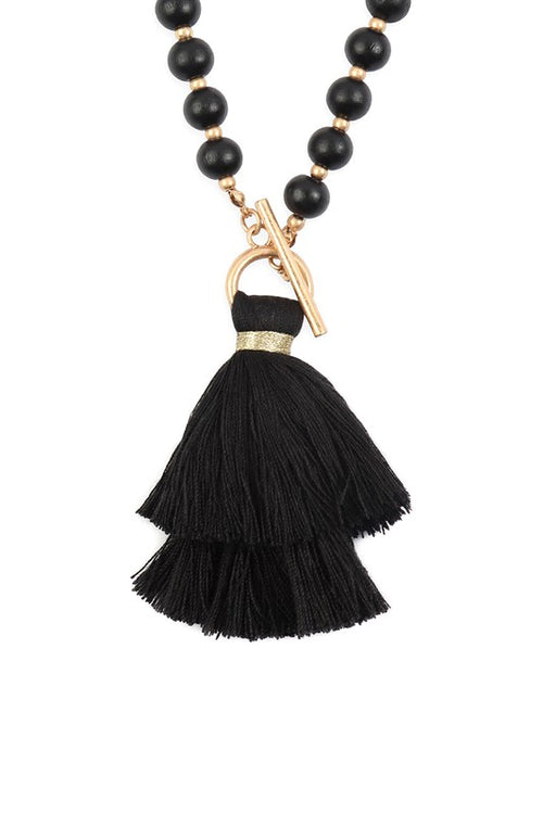 From Paris To Berlin Cotton Tassel Chain Beaded Necklace, Gold & Black