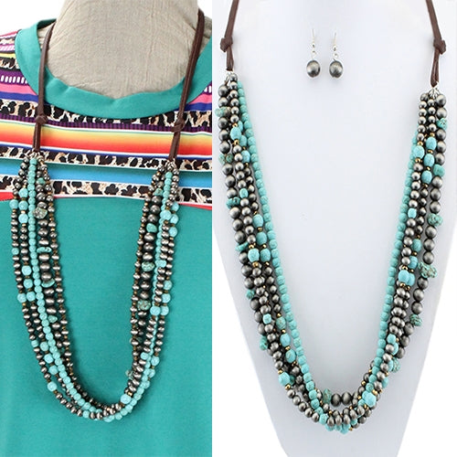 Bailar Layered Beaded Turquoise Necklace with Leather Straps