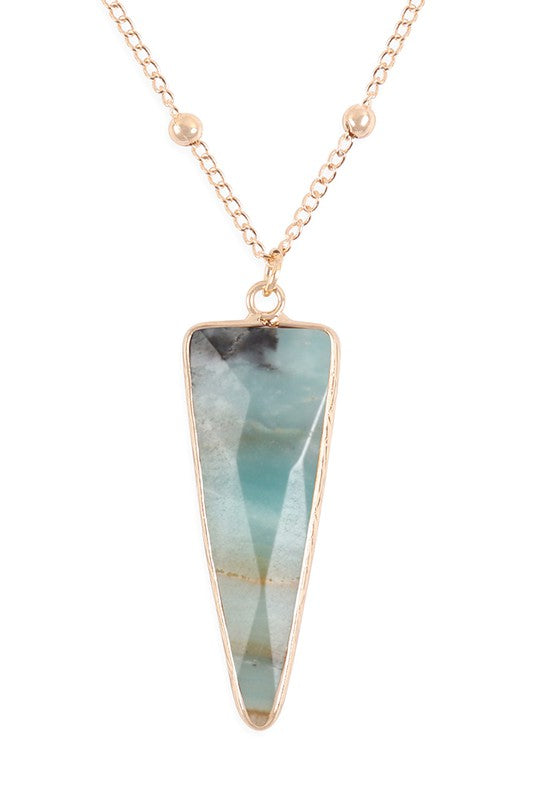 Amazonite Arrow Shaped Stone Pendant, Gold