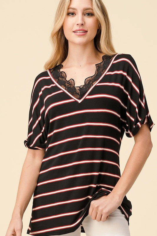 Levitating Stripe Short Sleeve Top with Lace V-Neckline & Rolled Cuff Sleeves