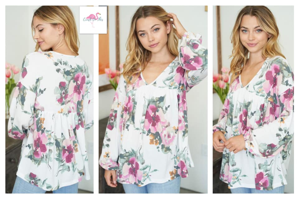 Release Me Long Sleeve Floral Print V Neck Top with Puff Sleeves