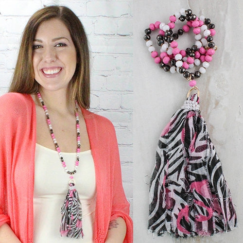 Ain't It Fun Tassel Bead Necklace, Pink / Black / White