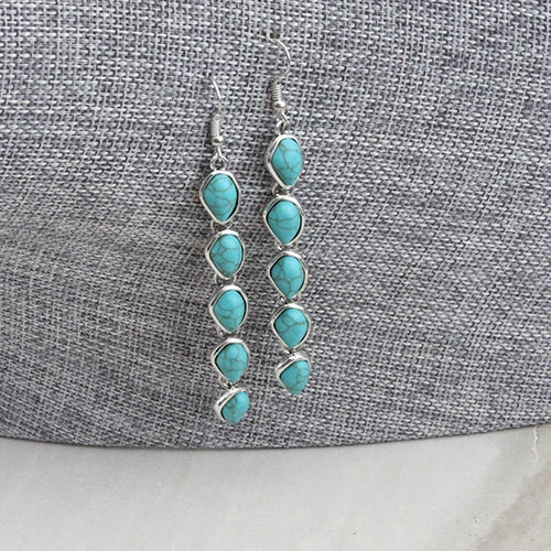 2 Inch Light Weight Beaded Linked Stone Turquoise Strand Fish Hook Earrings, Silver
