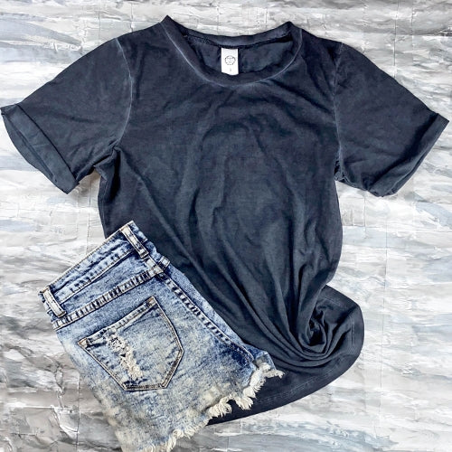 Stand Up Acid Wash Top with Cuffed Sleeves, Charcoal S-XL