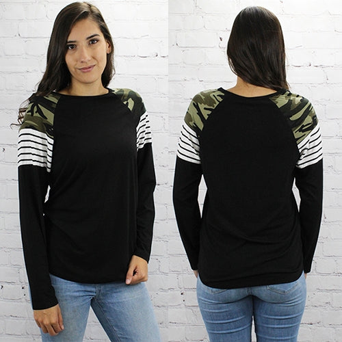 Camo Colorblock Long Sleeve Crew Top, Black, S-2XL