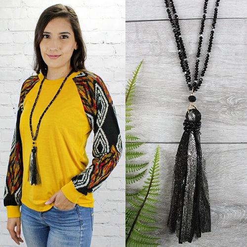 Ain't It Fun Tassel Bead Necklace, Black